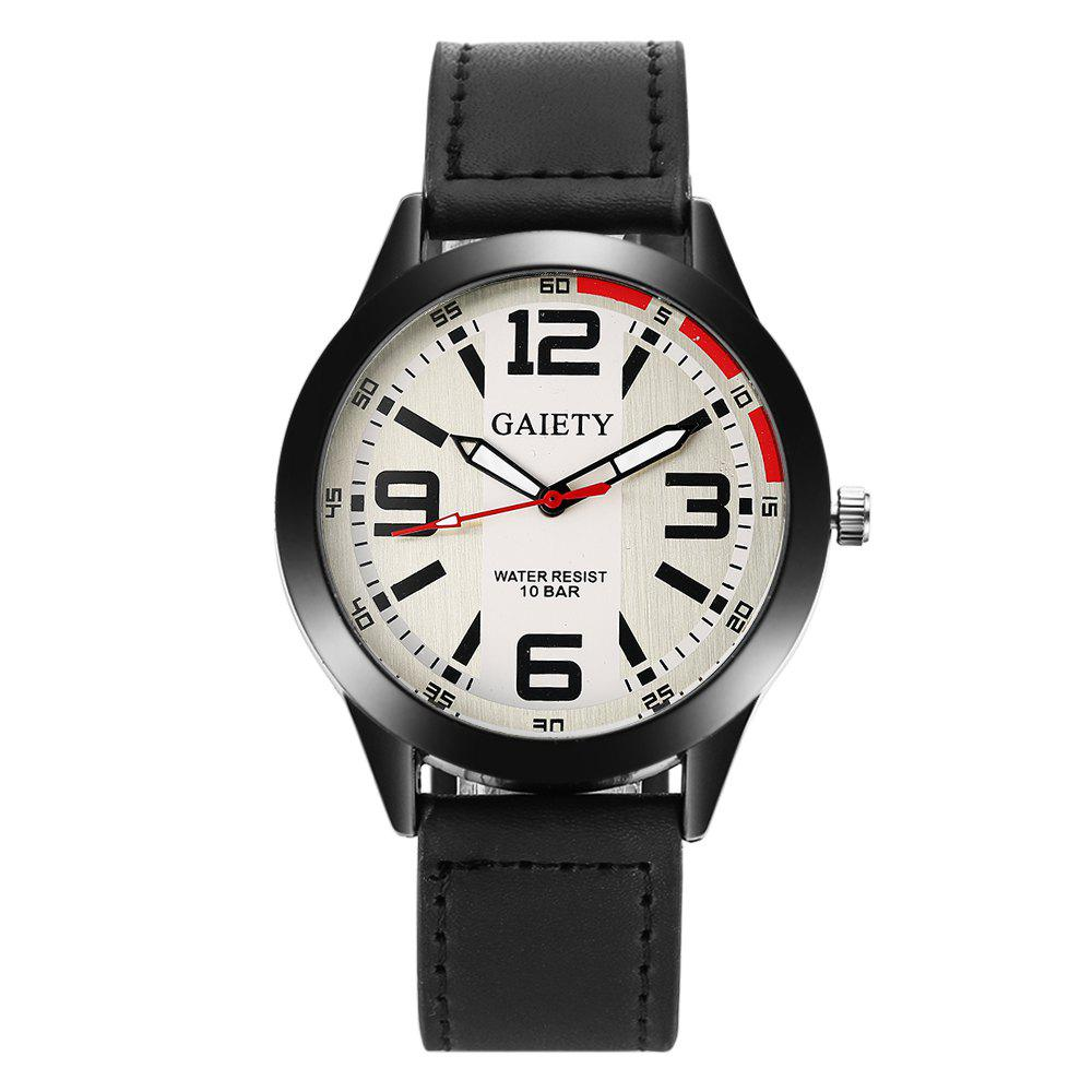 GAIETY Men's Black Easy Read Leather Band Dress Watch G004 - BLACK