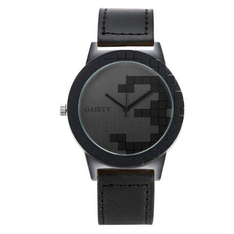 GAIETY Unique Dial Leather Strap Wrist Watches for Men G005 - BLACK