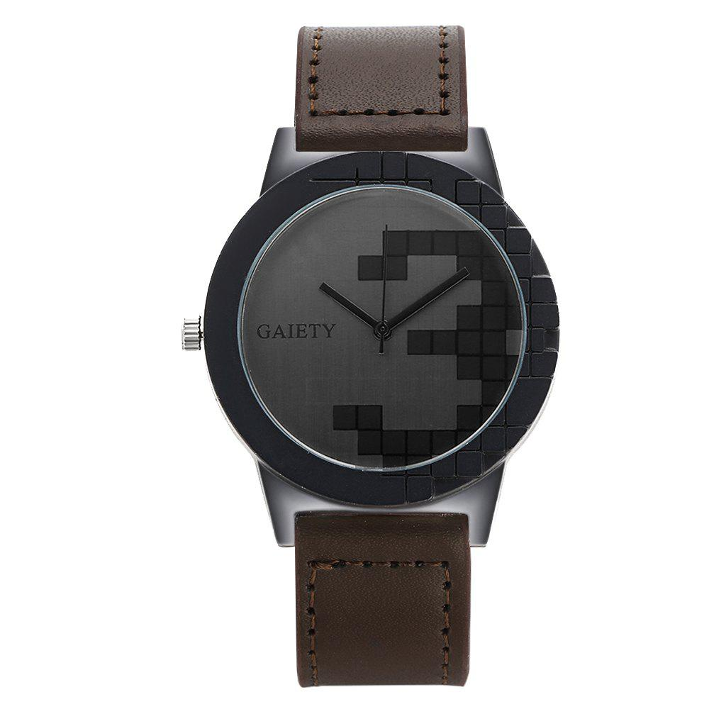 GAIETY Unique Dial Leather Strap Wrist Watches for Men G005 - BROWN