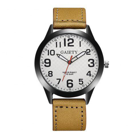 GAIETY Men's Simple Leather Band Black Case Wrist Watch G010 - YELLOW