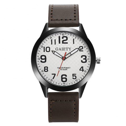 GAIETY Men's Simple Leather Band Black Case Wrist Watch G010 - BROWN