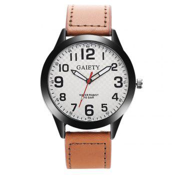 GAIETY Men's Simple Leather Band Black Case Wrist Watch G010 - LIGHT BROWN LIGHT BROWN