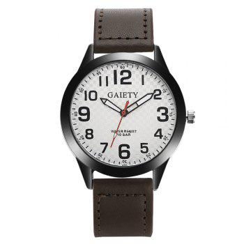 GAIETY Men's Simple Leather Band Black Case Wrist Watch G010 - BROWN BROWN