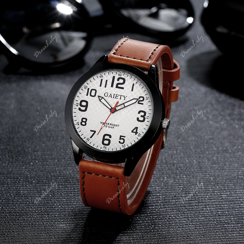 GAIETY Men's Simple Leather Band Black Case Wrist Watch G010 - LIGHT BROWN