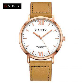 GAIETY  Men's Rose Gold Simple Leather Band Wrist Watch G032 - YELLOW YELLOW