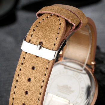 GAIETY  Men's Rose Gold Simple Leather Band Wrist Watch G032 -  YELLOW