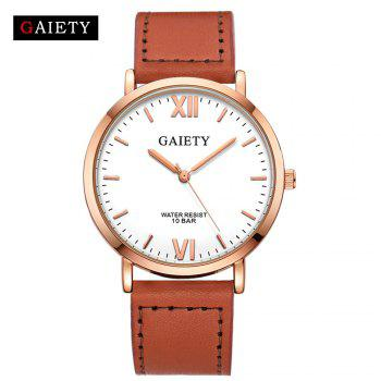 GAIETY  Men's Rose Gold Simple Leather Band Wrist Watch G032 - LIGHT BROWN LIGHT BROWN