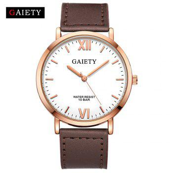 GAIETY  Men's Rose Gold Simple Leather Band Wrist Watch G032 - BROWN BROWN