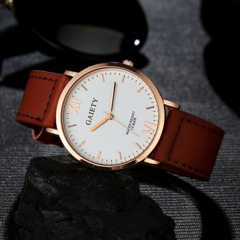 GAIETY  Men's Rose Gold Simple Leather Band Wrist Watch G032 - LIGHT BROWN