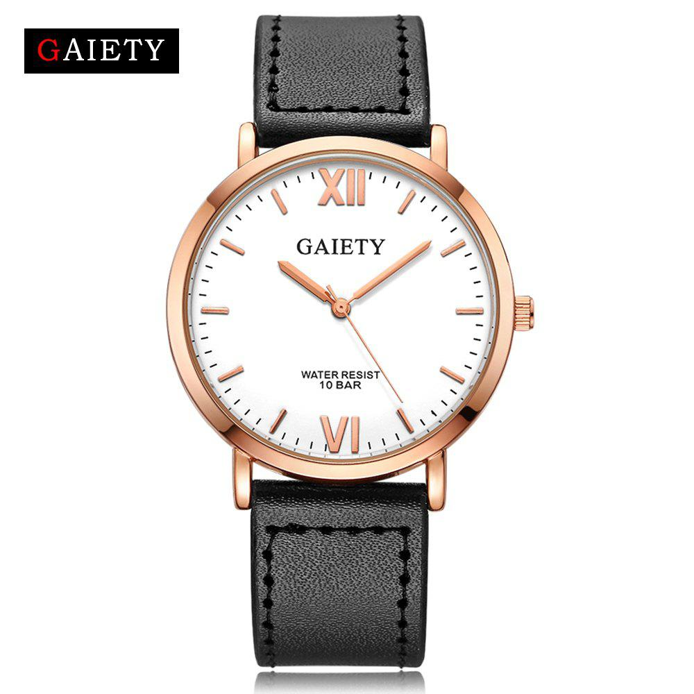 GAIETY  Men's Rose Gold Simple Leather Band Wrist Watch G032 - BLACK