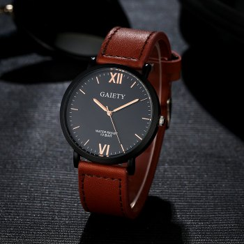 GAIETY Men's Casual Black Case Leather Band Wrist Watches G034 - LIGHT BROWN