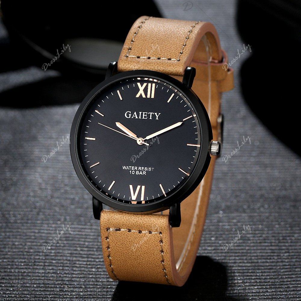 GAIETY Men's Casual Black Case Leather Band Wrist Watches G034 - YELLOW