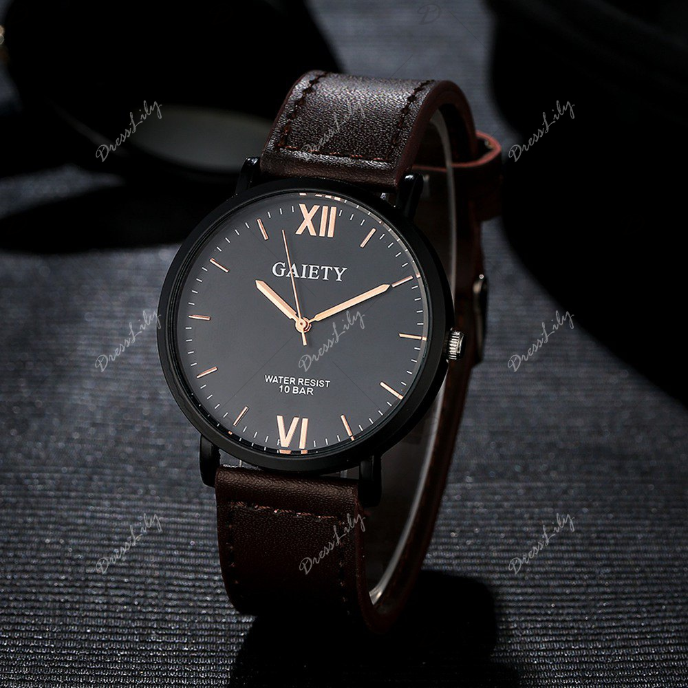 GAIETY Men's Casual Black Case Leather Band Wrist Watches G034 - BROWN