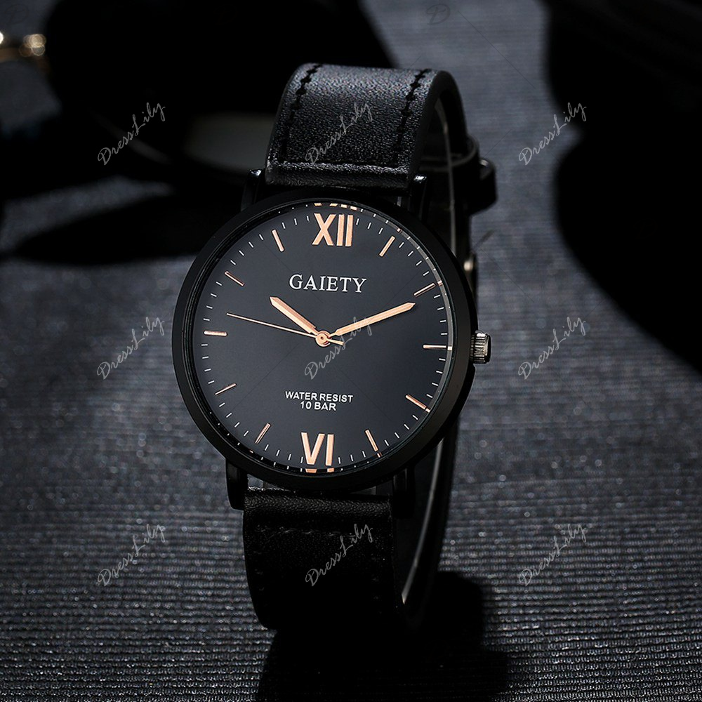 GAIETY Men's Casual Black Case Leather Band Wrist Watches G034 - BLACK