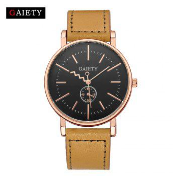 GAIETY Men's Rose Gold Tone Casual Leather Band Wrist Watch G035 - YELLOW YELLOW