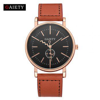 GAIETY Men's Rose Gold Tone Casual Leather Band Wrist Watch G035 - LIGHT BROWN LIGHT BROWN