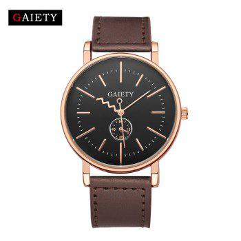 GAIETY Men's Rose Gold Tone Casual Leather Band Wrist Watch G035 - BROWN BROWN
