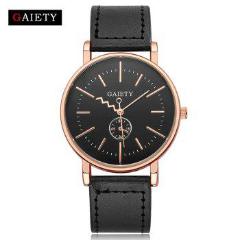 GAIETY Men's Rose Gold Tone Casual Leather Band Wrist Watch G035 - BLACK BLACK
