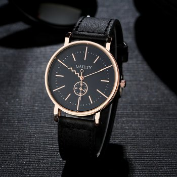 GAIETY Men's Rose Gold Tone Casual Leather Band Wrist Watch G035 - BLACK