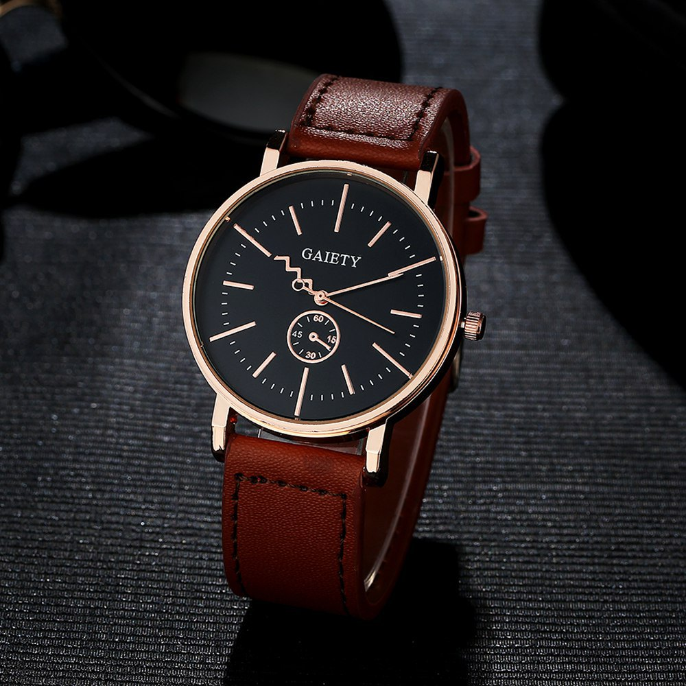 GAIETY Men's Rose Gold Tone Casual Leather Band Wrist Watch G035 - LIGHT BROWN