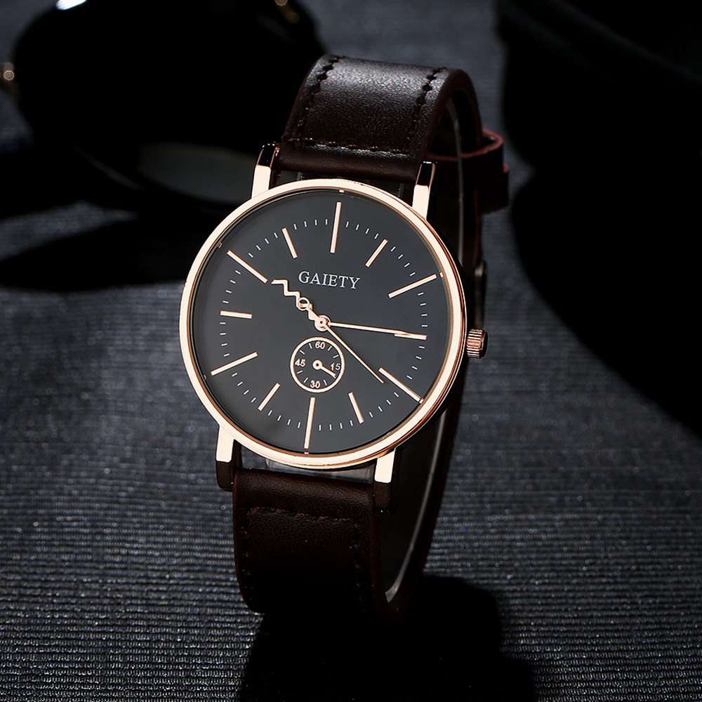 GAIETY Men's Rose Gold Tone Casual Leather Band Wrist Watch G035 - BROWN