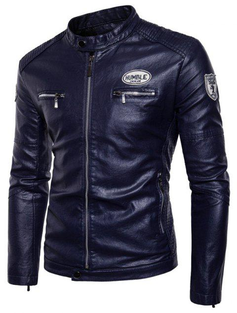 Man'S Personality Leather Jacket - CERULEAN 2XL