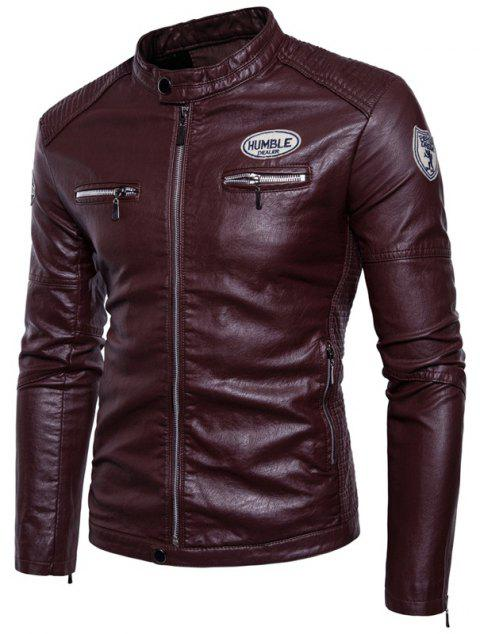 Man'S Personality Leather Jacket - WINE RED 2XL