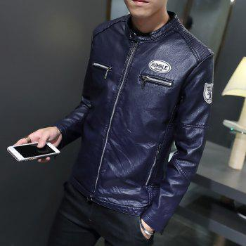 Man'S Personality Leather Jacket - CERULEAN 3XL