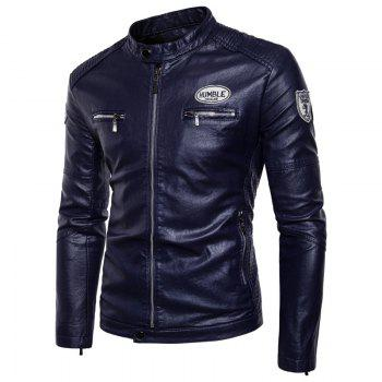 Man'S Personality Leather Jacket - CERULEAN CERULEAN
