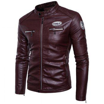 Man'S Personality Leather Jacket - WINE RED WINE RED