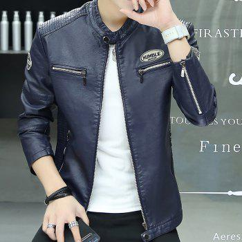 Man'S Personality Leather Jacket - CERULEAN L