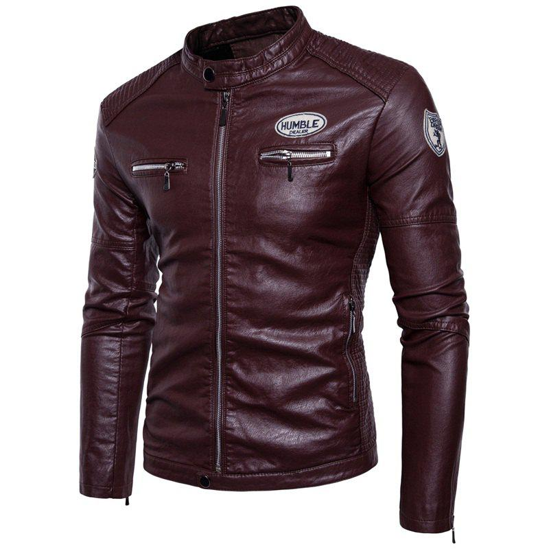 Man'S Personality Leather Jacket - WINE RED M