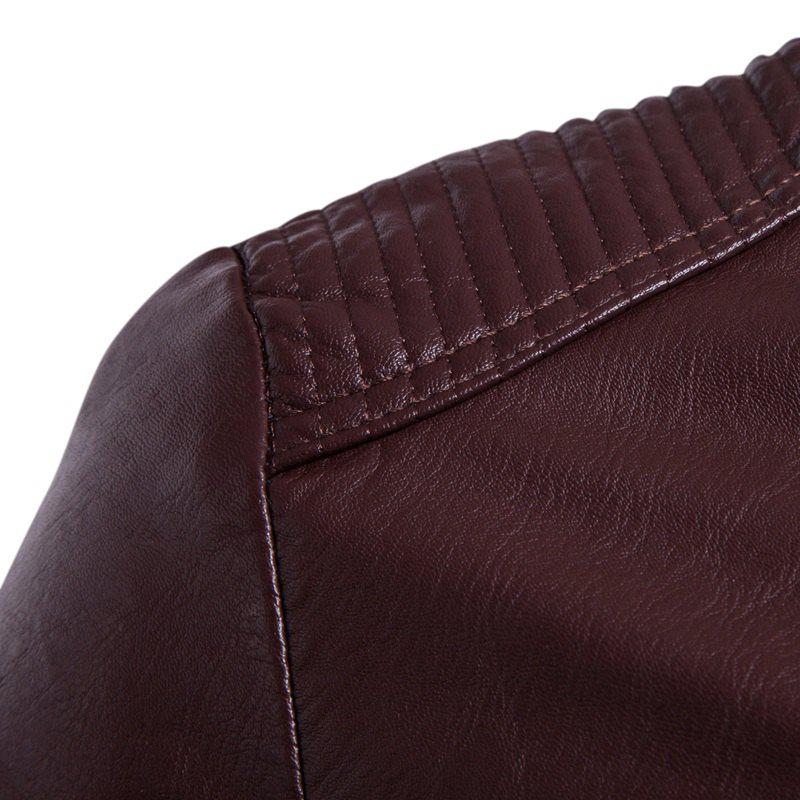 Man'S Personality Leather Jacket - WINE RED 3XL