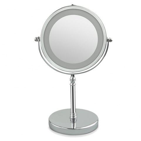 LED Double-Sided Lighted Makeup Mirror 1X/10X Magnification Polished Finish nickelage - SILVER