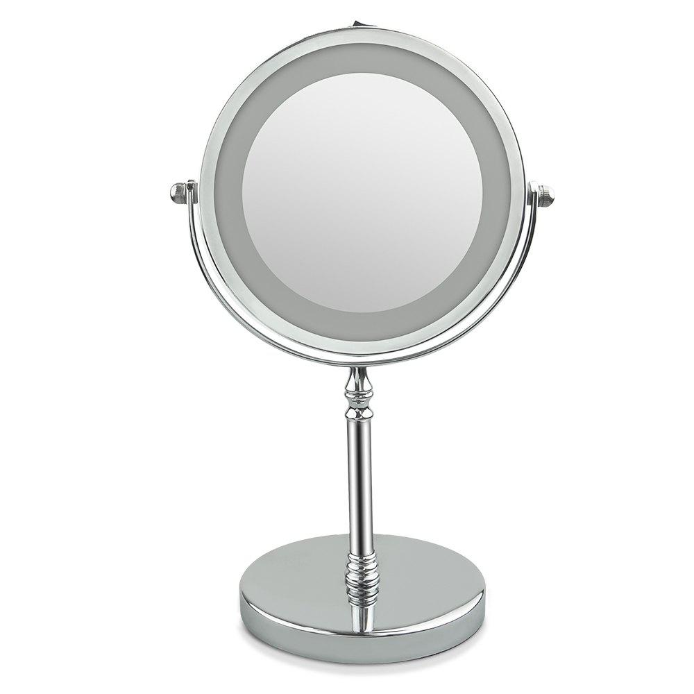 Miroir de Maquillage Allumé Recto-verso de LED 1X / 10X Grossissement Finition Polie Nickelage - Argent