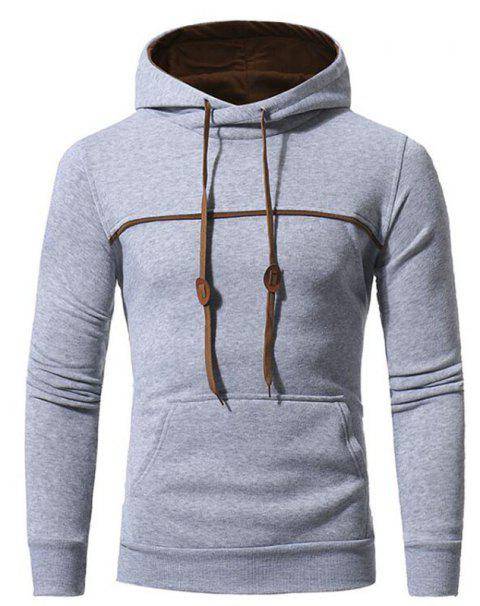 Men's Casual Daily Punk  Gothic T-shirt Color Block Hooded Long Sleeves Cotton - LIGHT GRAY L