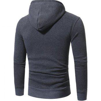 Men's Casual Daily Punk  Gothic T-shirt Color Block Hooded Long Sleeves Cotton - DEEP GRAY M