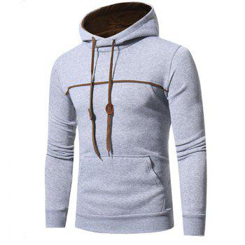 Men's Casual Daily Punk  Gothic T-shirt Color Block Hooded Long Sleeves Cotton - LIGHT GRAY M