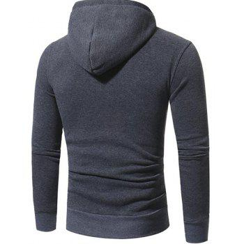 Men's Casual Daily Punk  Gothic T-shirt Color Block Hooded Long Sleeves Cotton - DEEP GRAY 2XL