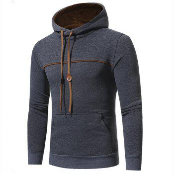 Men's Casual Daily Punk  Gothic T-shirt Color Block Hooded Long Sleeves Cotton - DEEP GRAY 3XL