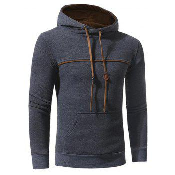 Men's Casual Daily Punk  Gothic T-shirt Color Block Hooded Long Sleeves Cotton - DEEP GRAY DEEP GRAY