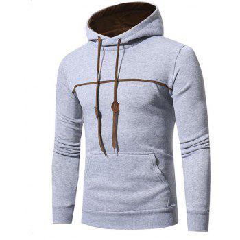 Men's Casual Daily Punk  Gothic T-shirt Color Block Hooded Long Sleeves Cotton - LIGHT GRAY 3XL