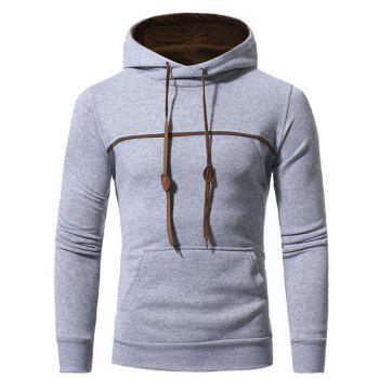 Men's Casual Daily Punk  Gothic T-shirt Color Block Hooded Long Sleeves Cotton - LIGHT GRAY LIGHT GRAY