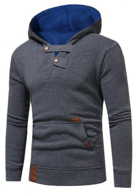 Hot Sale Men's Sports Holiday Casual Daily Hoodie Solid Oversized Hooded Micro Elastic Cotton Long Sleeve Fall Winter - GRAY L