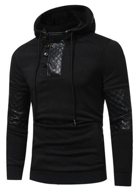 Men's Sports Casual Daily  Patchwork Stand strenchy Cotton Cotton Blend Long Sleeve  Hoodie - BLACK M
