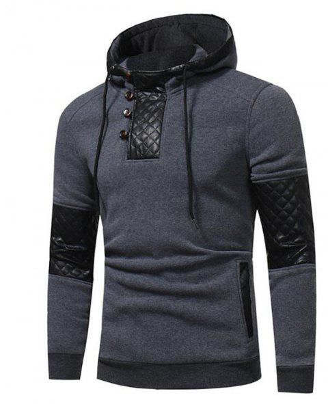 Men's Sports Casual Daily  Patchwork Stand strenchy Cotton Cotton Blend Long Sleeve  Hoodie - GRAY M