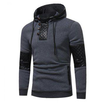 Men's Sports Casual Daily  Patchwork Stand strenchy Cotton Cotton Blend Long Sleeve  Hoodie - GRAY GRAY