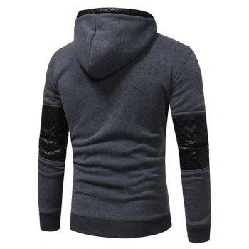 Men's Sports Casual Daily  Patchwork Stand strenchy Cotton Cotton Blend Long Sleeve  Hoodie - GRAY L