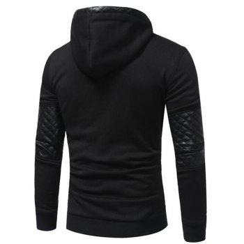 Men's Sports Casual Daily  Patchwork Stand strenchy Cotton Cotton Blend Long Sleeve  Hoodie - BLACK XL
