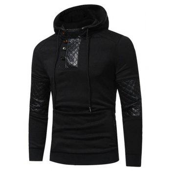 Men's Sports Casual Daily  Patchwork Stand strenchy Cotton Cotton Blend Long Sleeve  Hoodie - BLACK BLACK